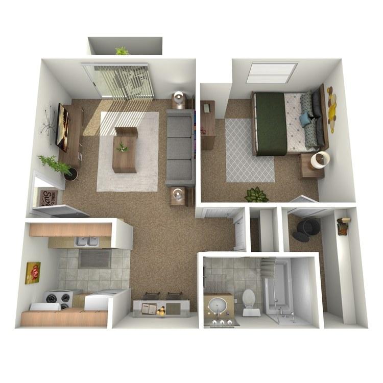Floor plan image of 1 Bedroom Downstairs with Patio