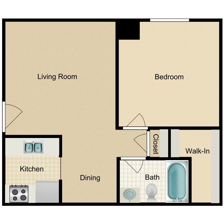 1 Bedroom Downstairs Front floor plan image