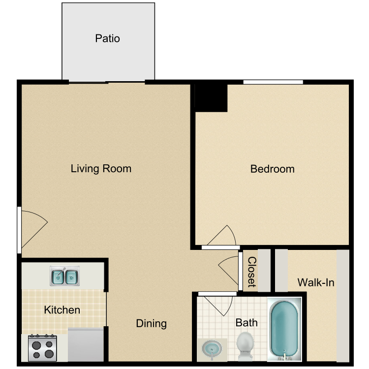 1 Bedroom Downstairs with Patio floor plan image