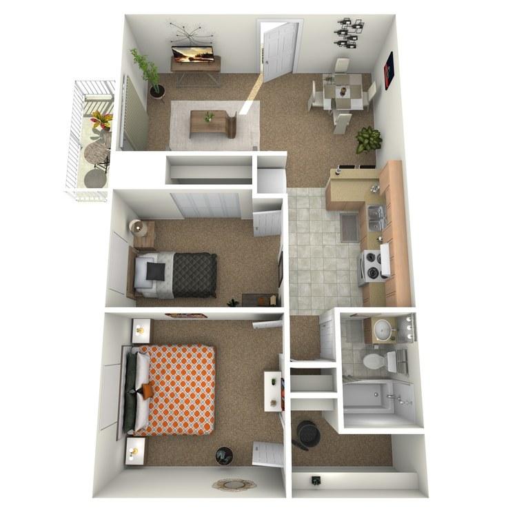 Floor plan image of 2 Bedroom with Patio