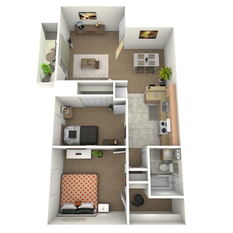 Floor plan image of 2 Bedroom Upstairs with Deck
