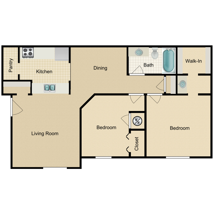 2 Bedroom Luxury A floor plan image
