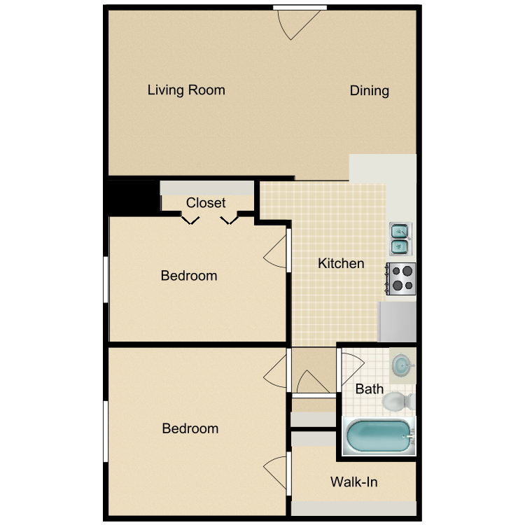 2 Bedroom Downstairs floor plan image