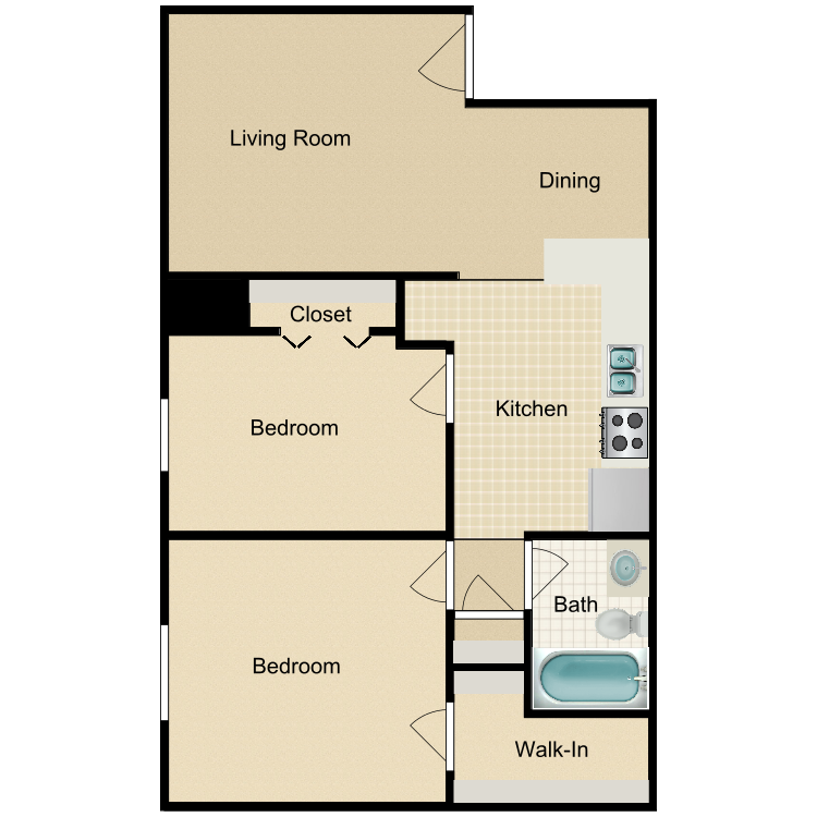 2 Bedroom Upstairs floor plan image