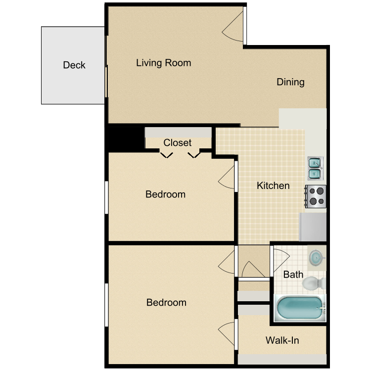 2 Bedroom Upstairs with Deck floor plan image