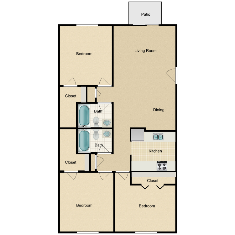3 Bedroom Downstairs floor plan image