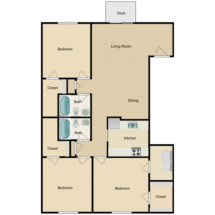 3 Bedroom Upstairs floor plan image