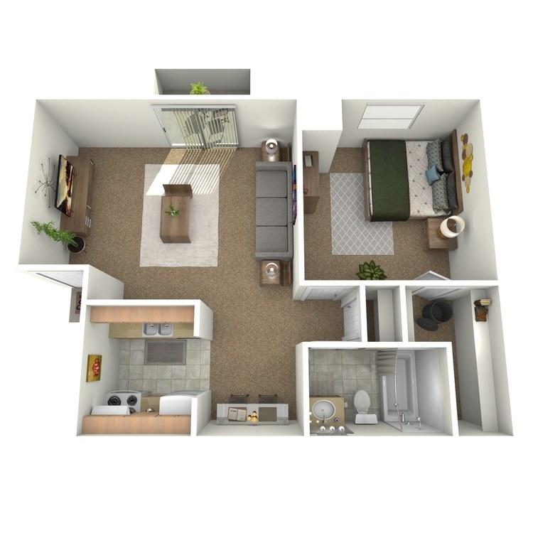 Floor plan image of 1 Bedroom Upstairs with Deck