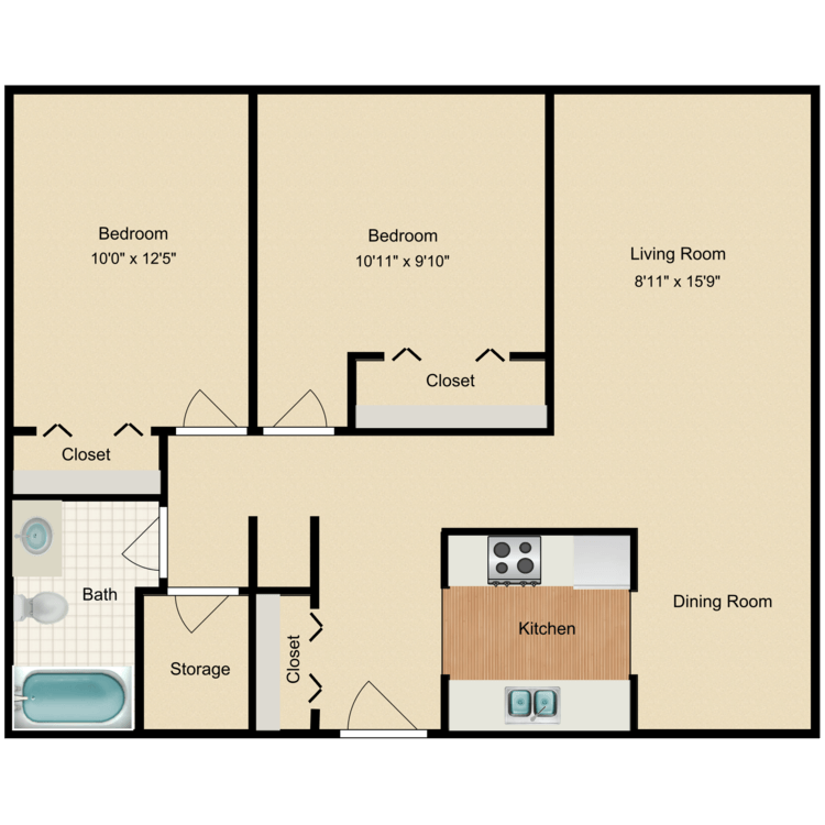 Floor plan image of 2x1 Large