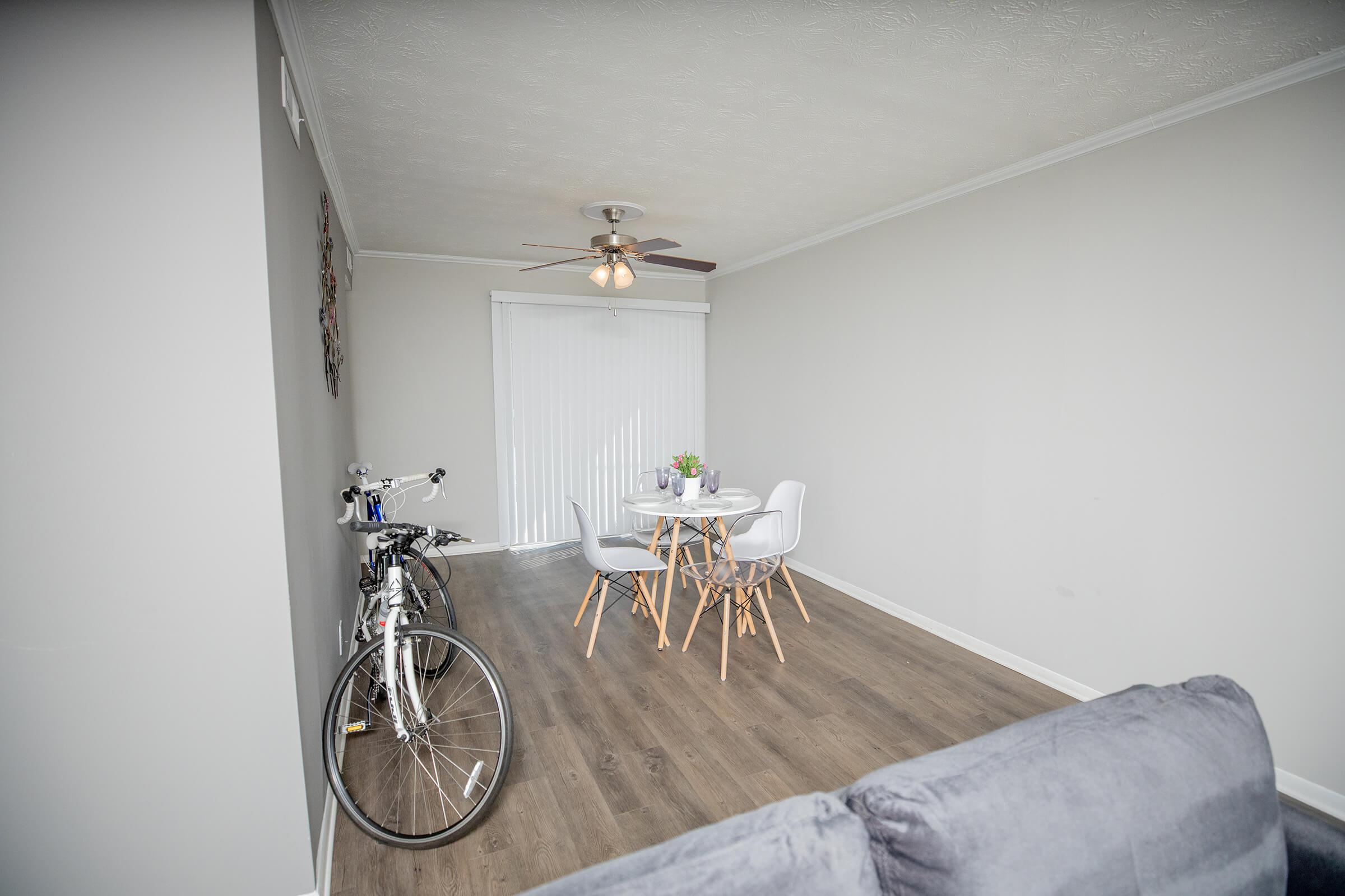 a bicycle in a room