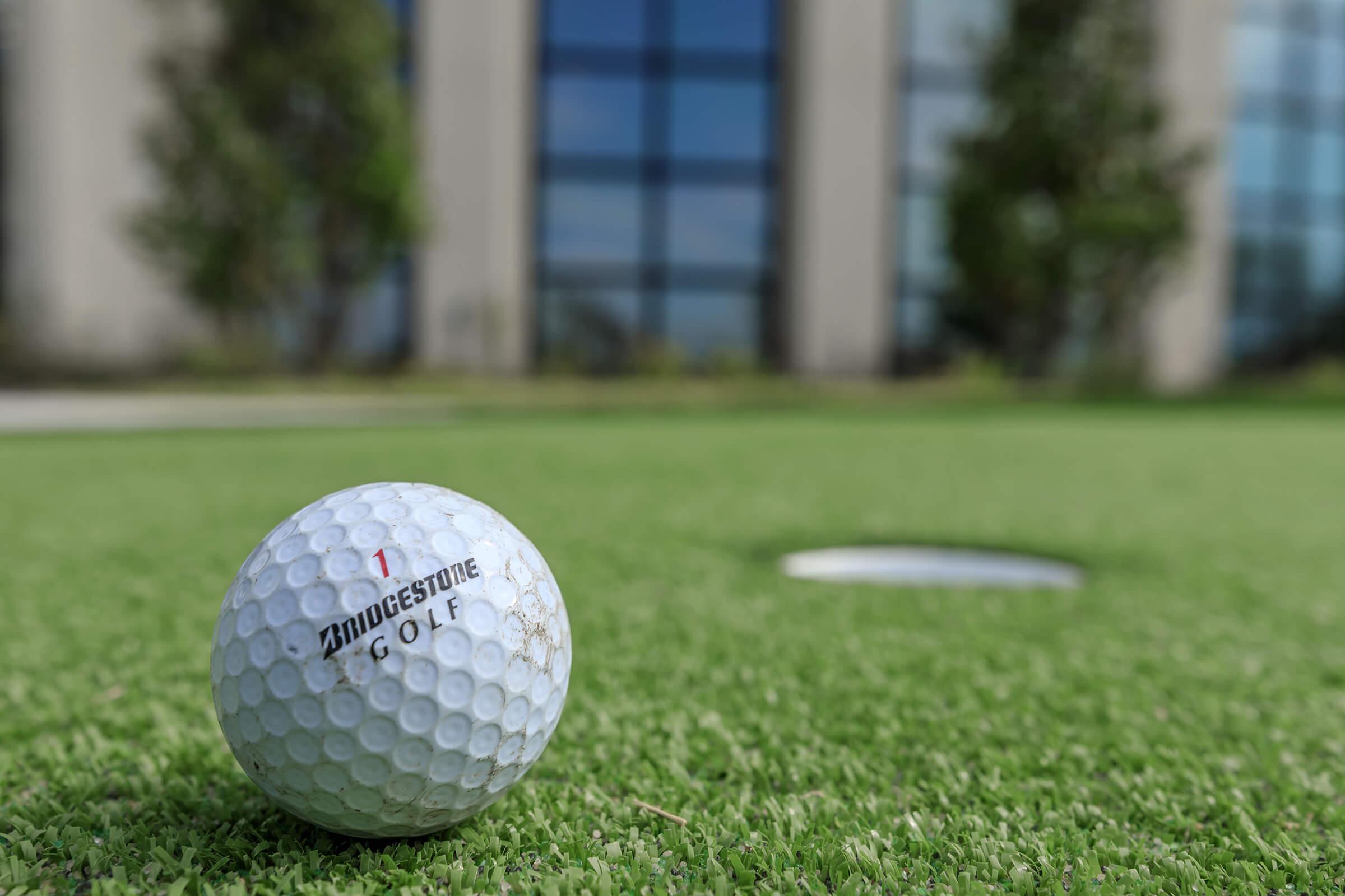 a golf ball on a field