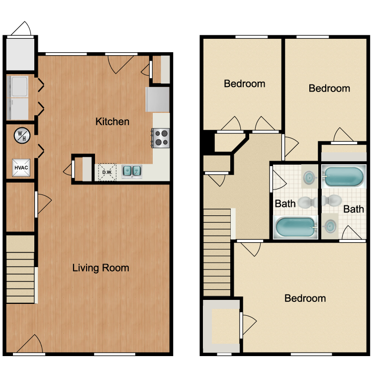 Floor plan image of 3 Bed 2.5 Bath Townhome