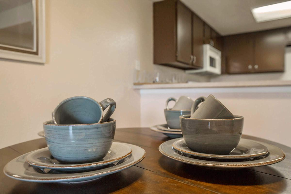 a kitchen with a blue bowl