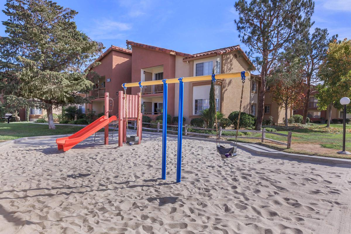a playground in front of a building