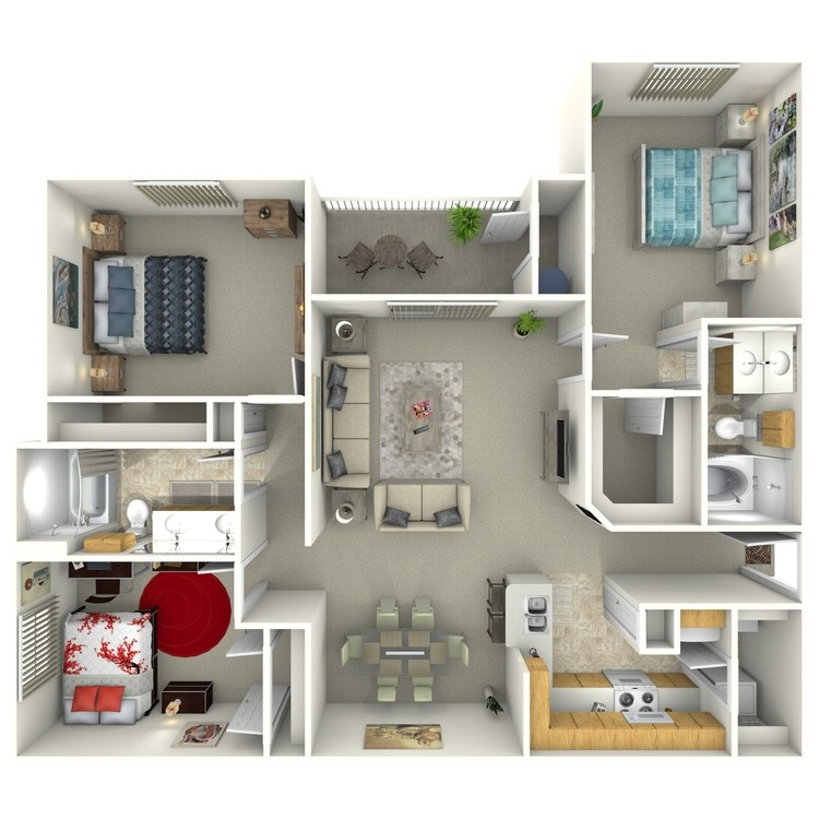 Floor plan image of 3 Bed 2 Bath C1