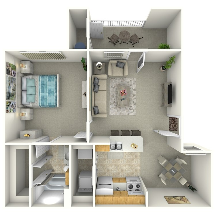 Floor plan image of 1 Bed 1 Bath  A1