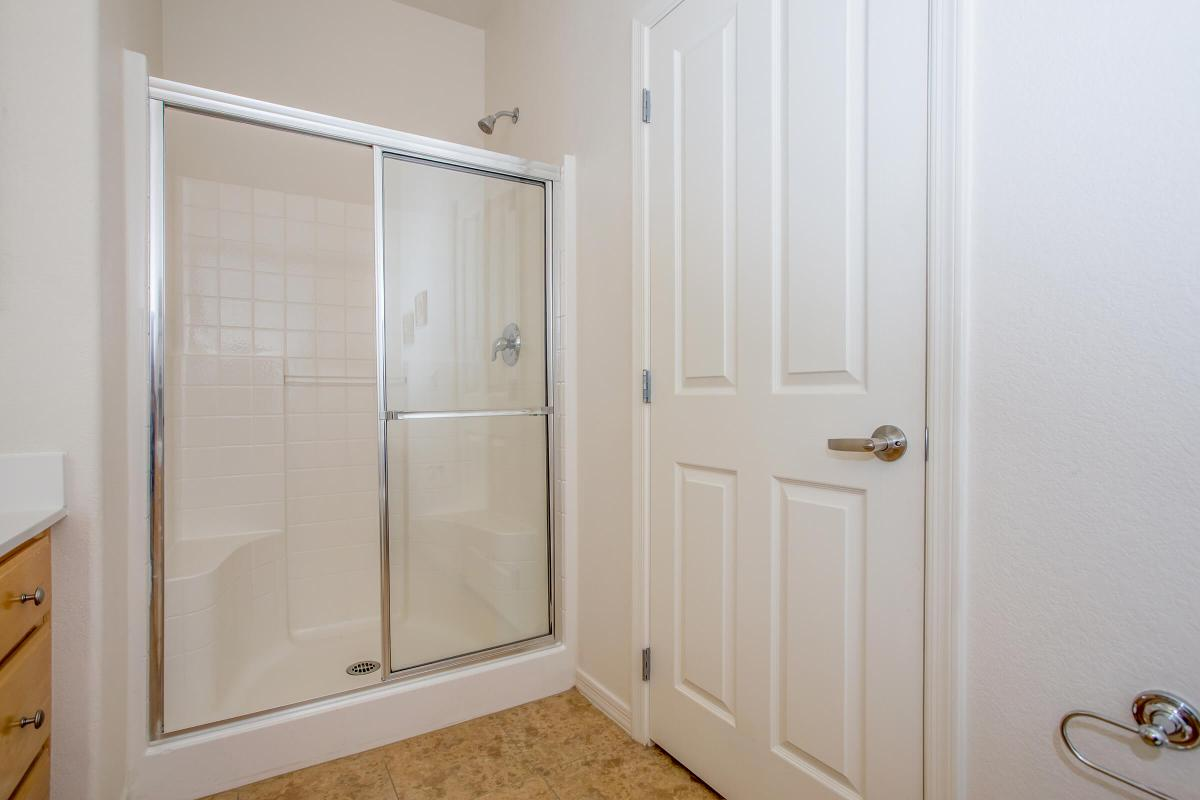 a glass shower door