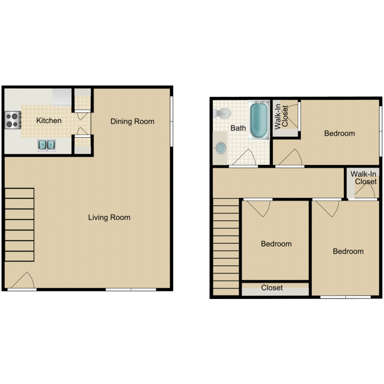 3 Bed 1 Bath floor plan image