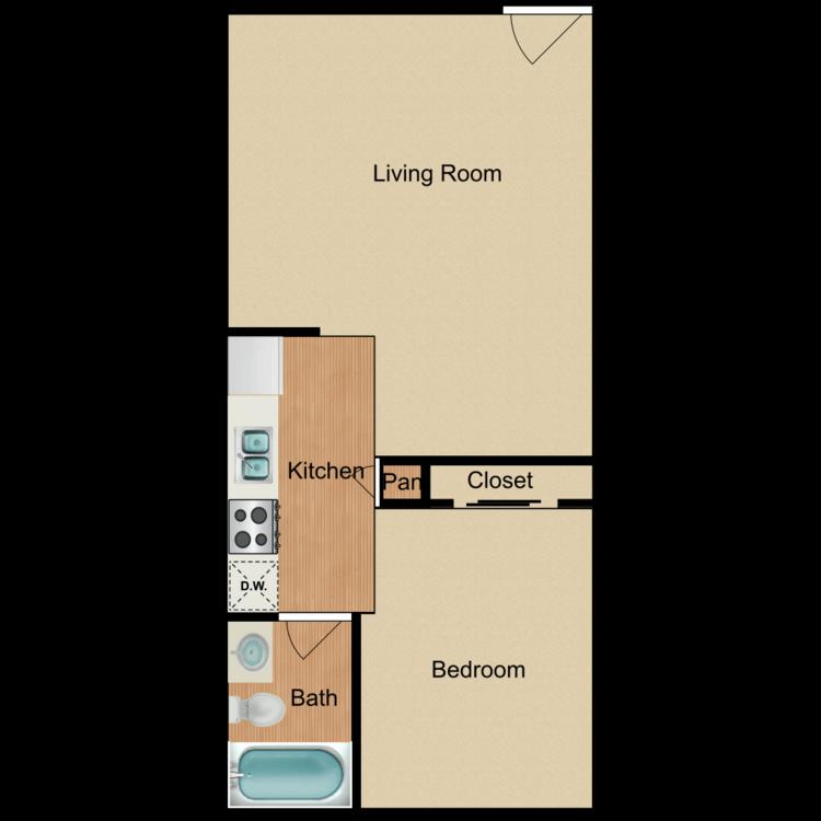 Floor plan image of Jem Wey 1 Bed 1 Bath A