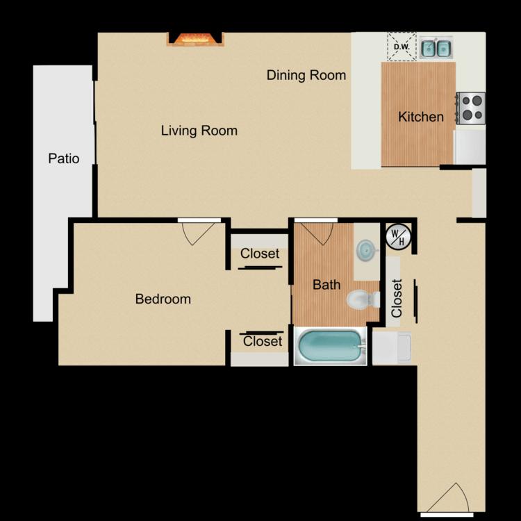 Floor plan image of Aloha Wey 1 Bed 1 Bath A