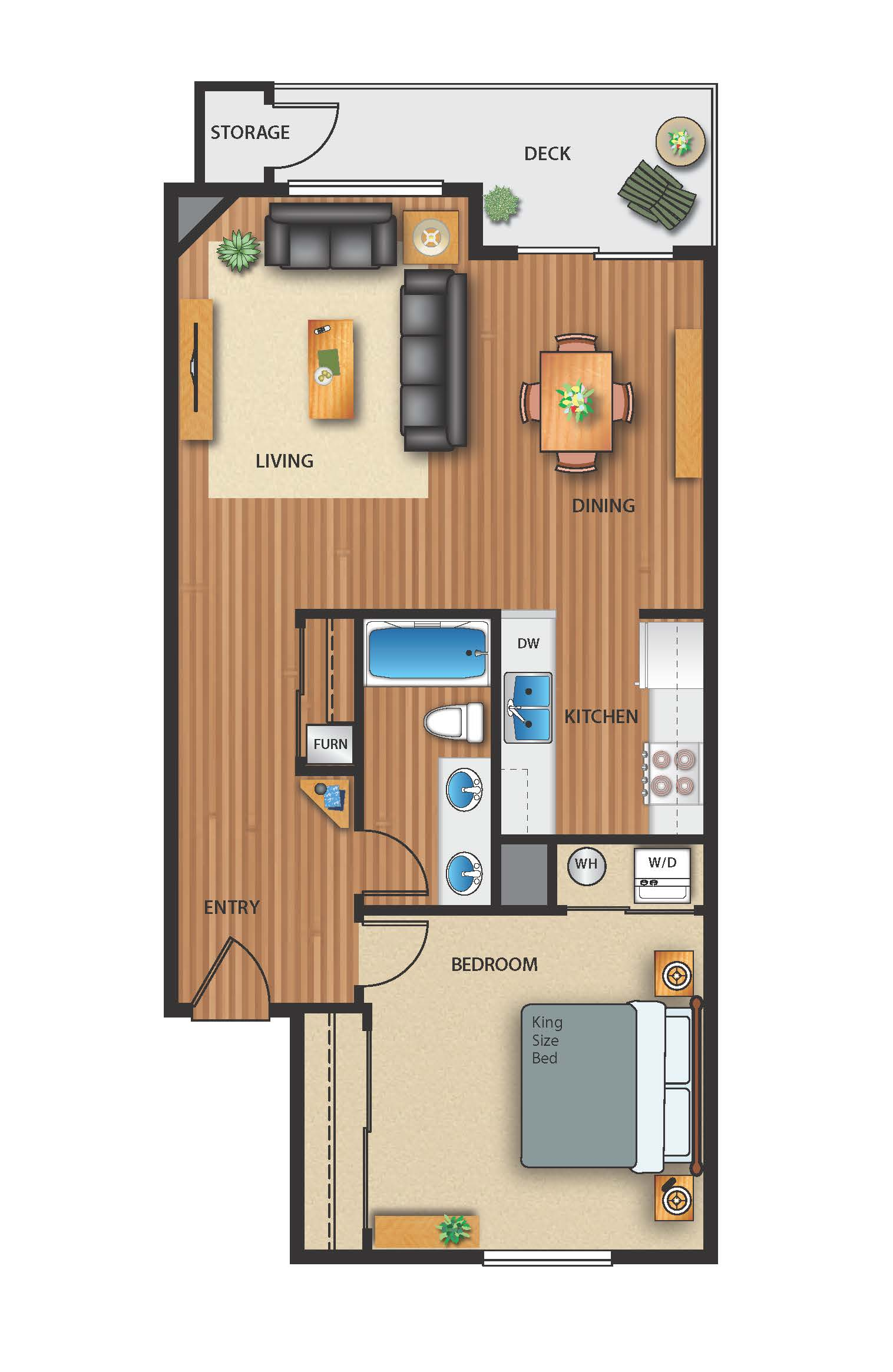 Floor plan image of 1 Bed 1 Bath Pool View
