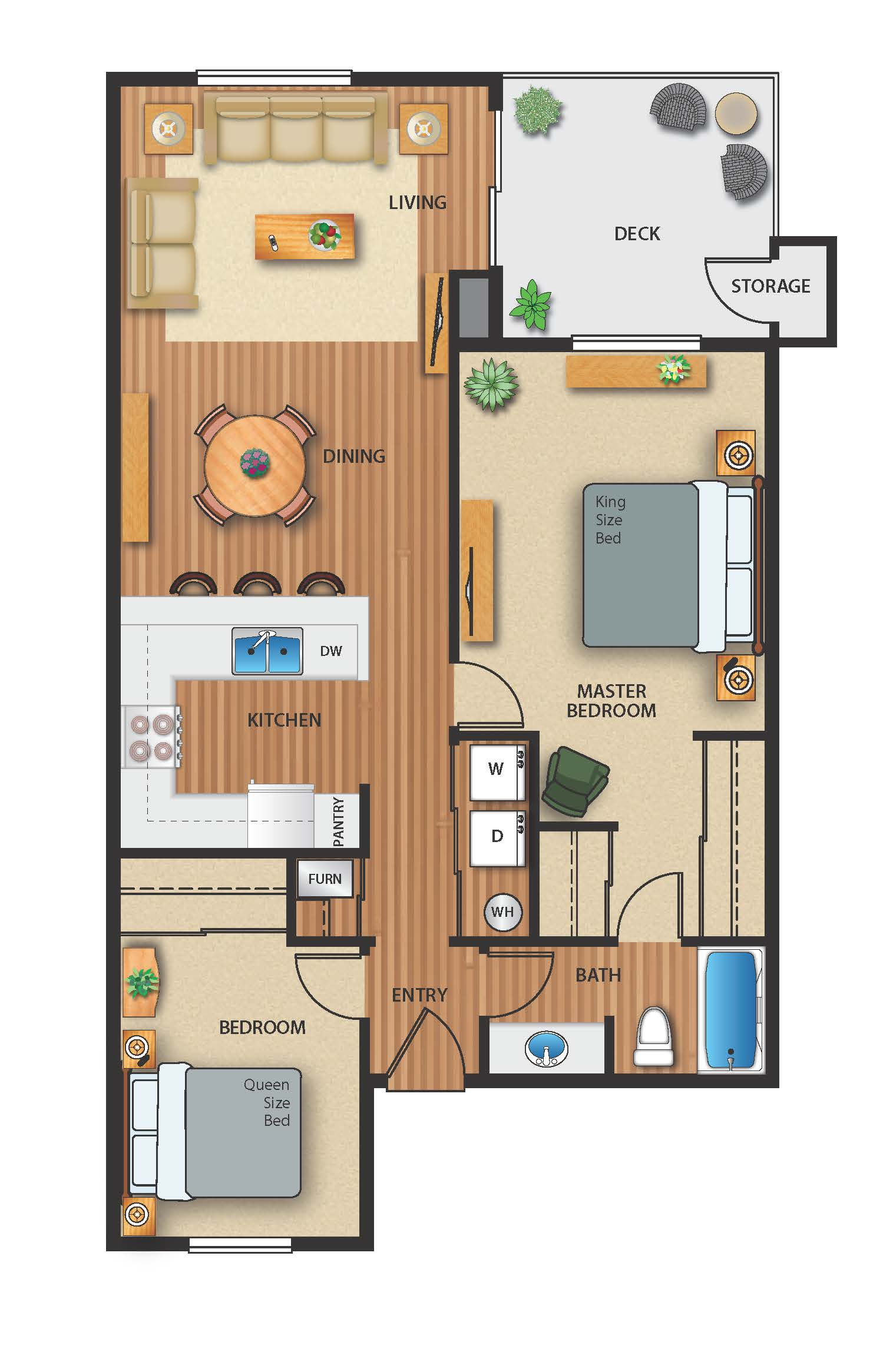 Floor plan image of 2 Bed 1 Bath Pool View