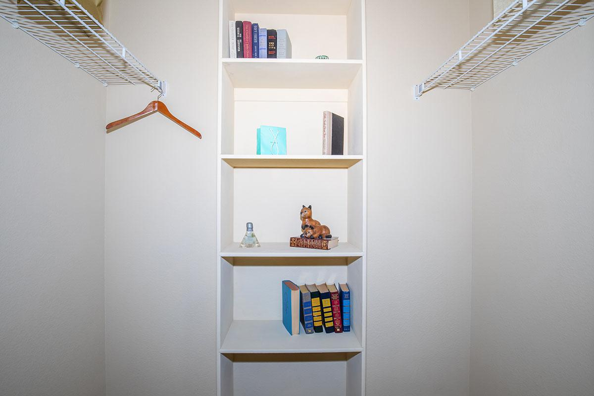 a shelf in a room