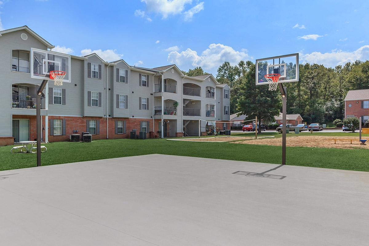 concrete basketball court at Cedar Pointe Apartments in Colombia, Tennessee