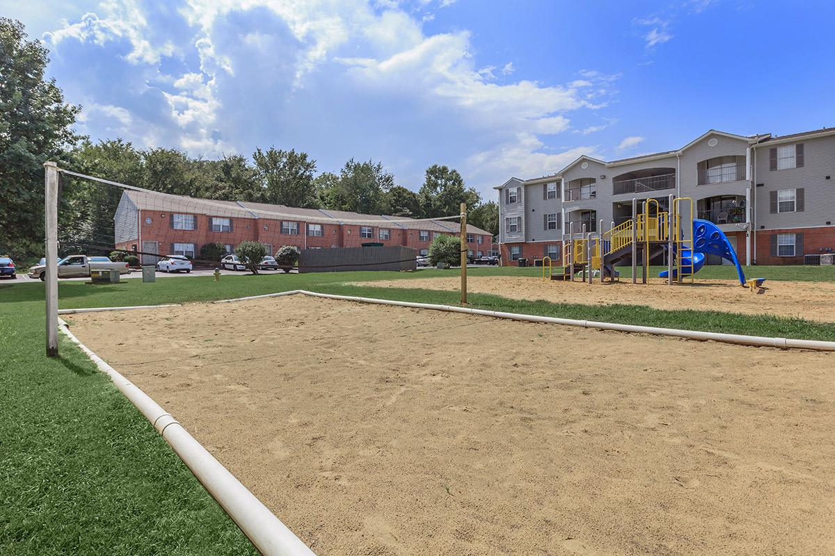on-site volleyball court at Cedar Pointe Apartments in Colombia, Tennessee
