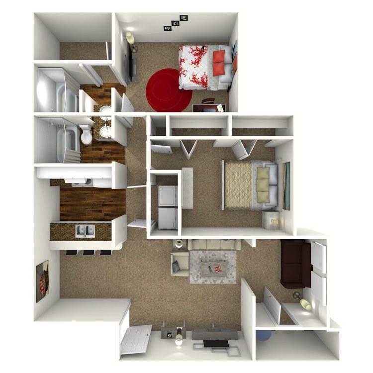 Floor plan image of 2 Bed 2 Bath - B1S