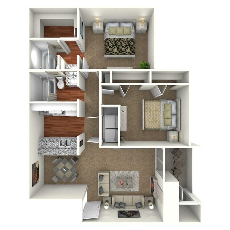 Floor plan image of 2 Bed 2 Bath - B1