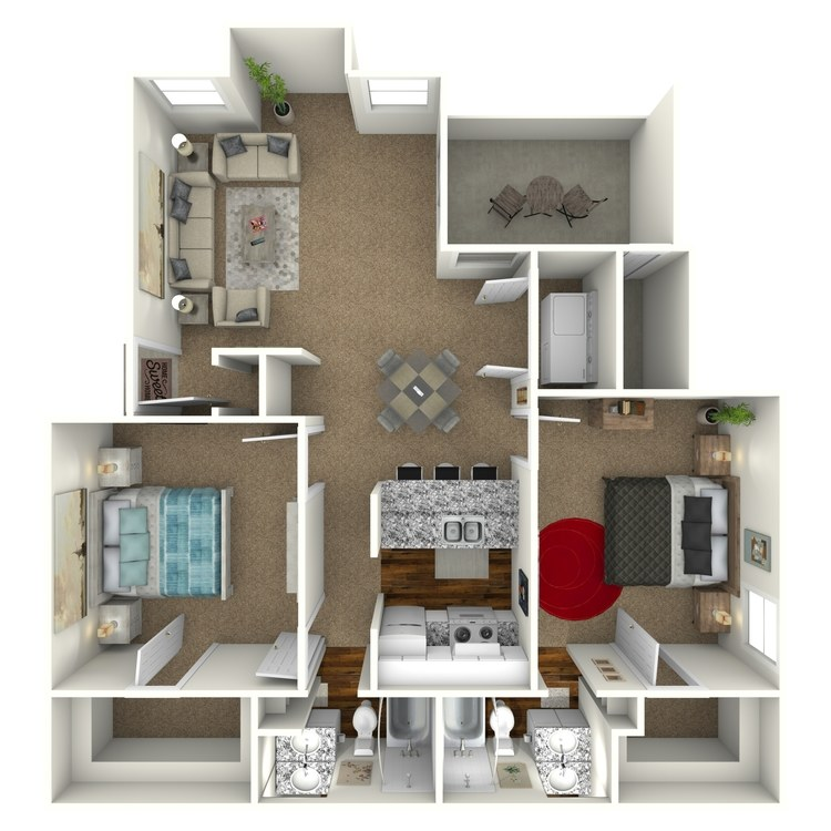 Floor plan image of 2 Bed 2 Bath - B2