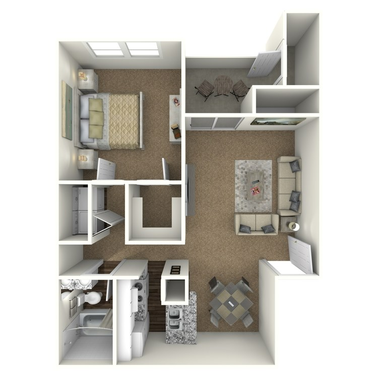 Floor plan image of 1 Bed 1 Bath - A2