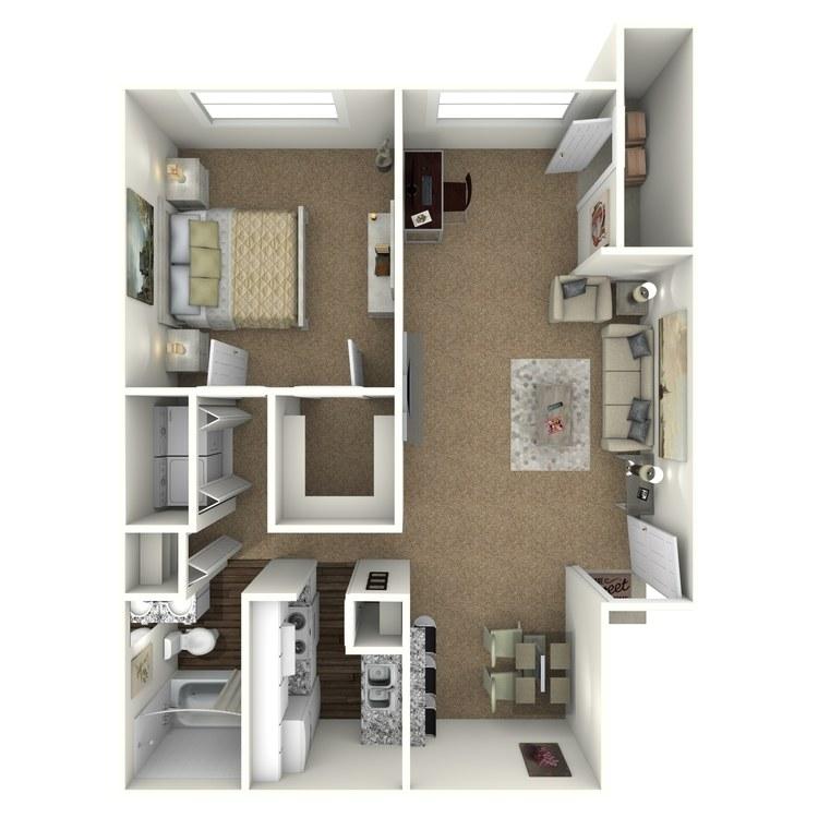 Floor plan image of 1 Bed 1 Bath - A2S