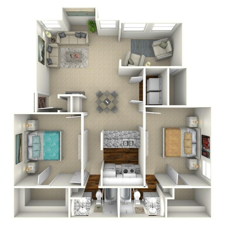 Floor plan image of 2 Bed 2 Bath - B2S
