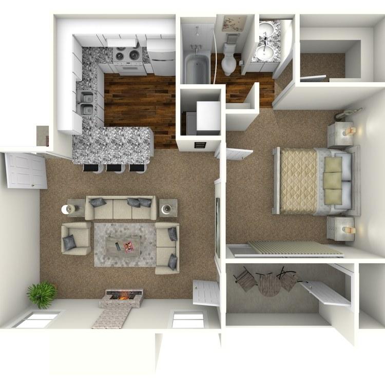 Floor plan image of 1 Bed 1 Bath - A1