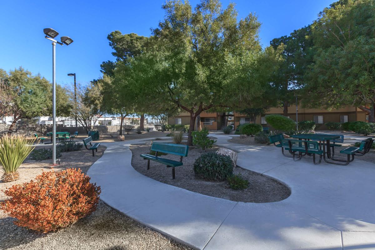 ENJOY OUR SHADED PICNIC AREA AT ALPINE VILLAGE