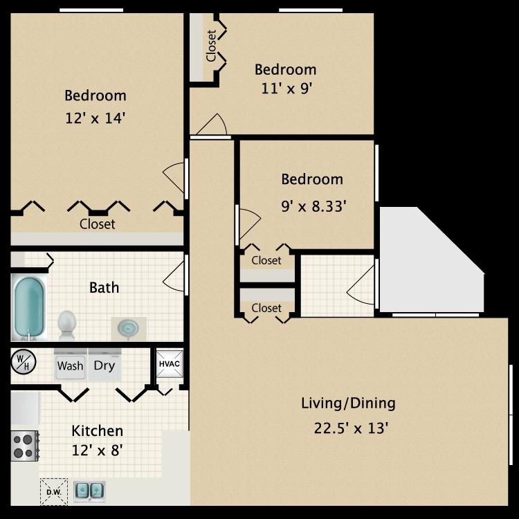 Floor plan image of 3 Bed 1 Bath