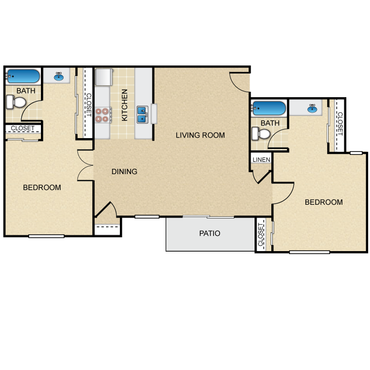 2 Bed 2 Bath floor plan image