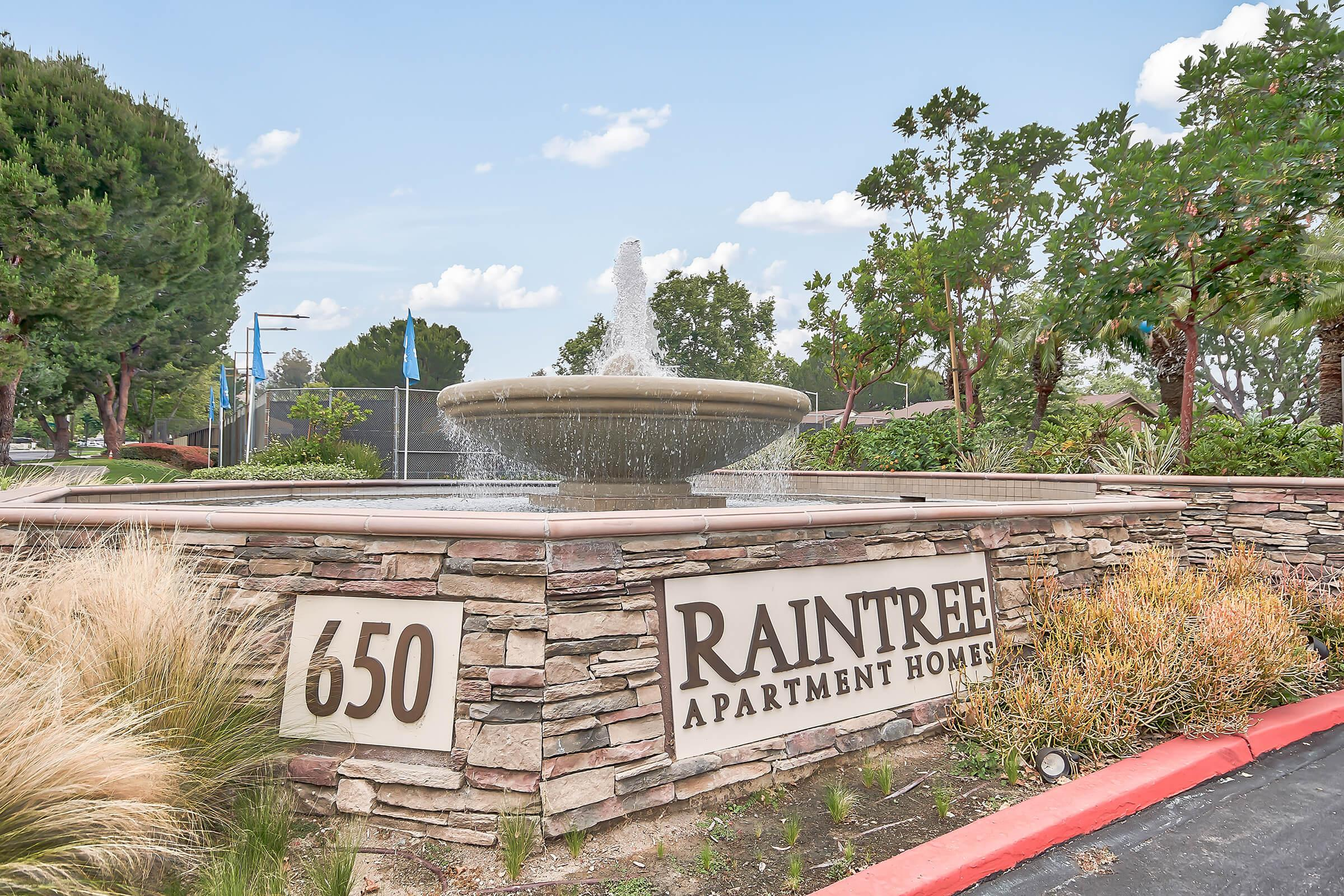 Raintree Apartment Homes monument sign with water feature