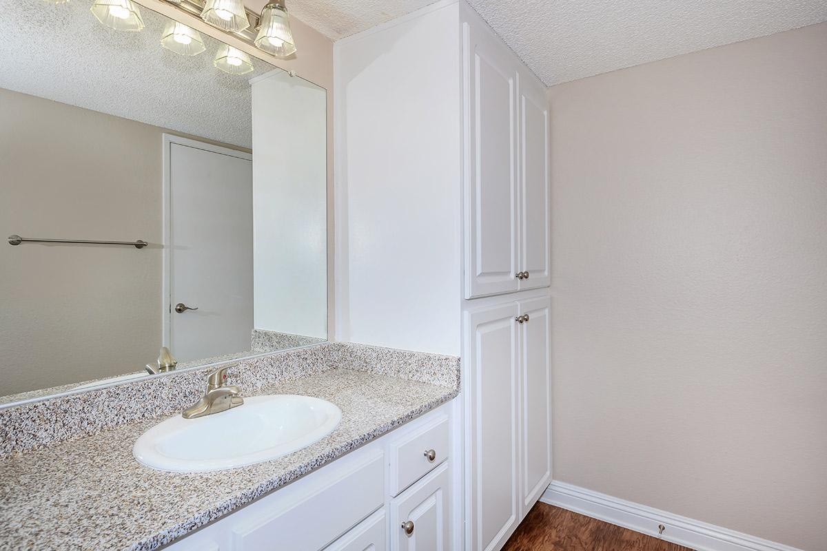 a bedroom with a shower and a sink