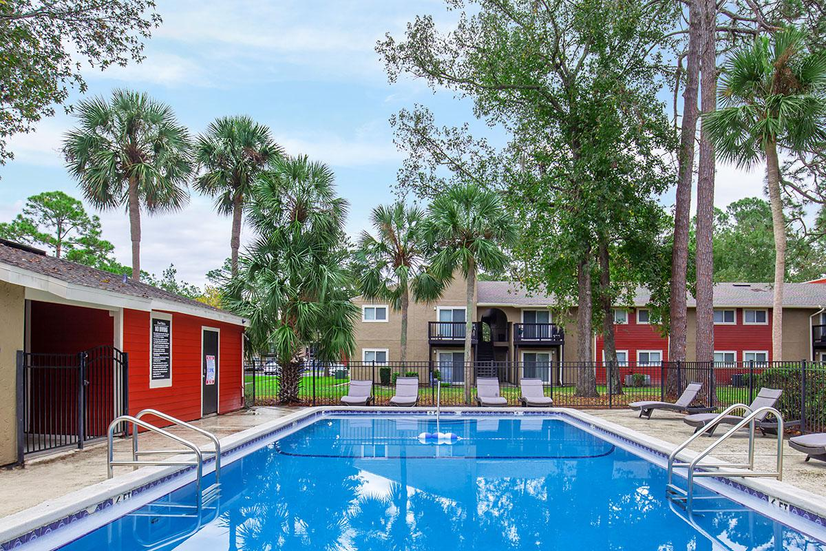 Relax pool side here at Heron Walk Apartments in Jacksonville, Florida