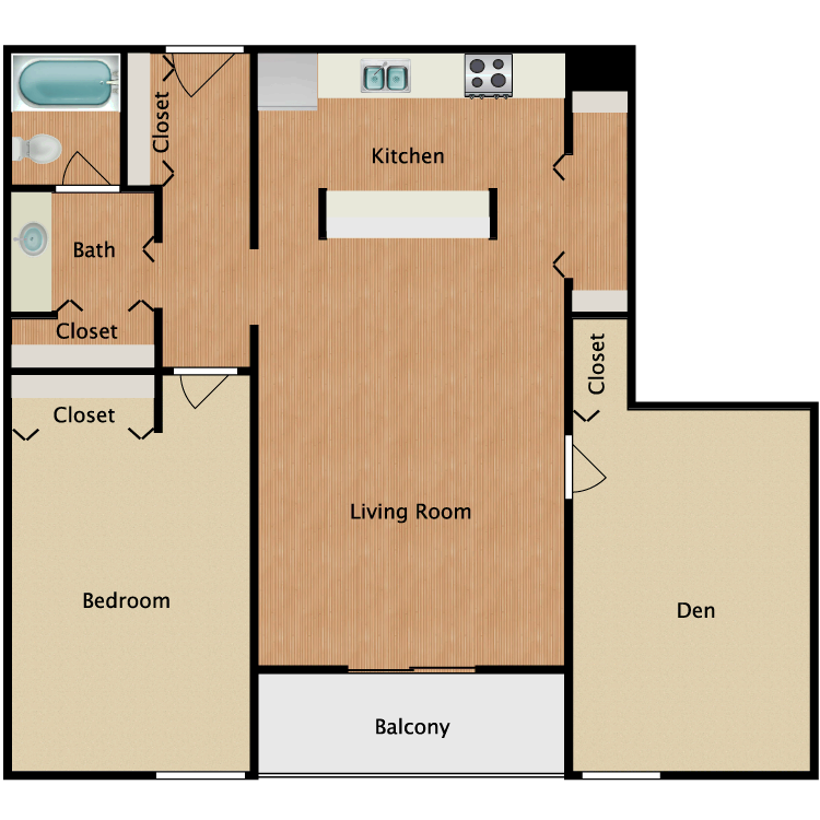 Floor plan image of 1 Bed 1 Bath with Den and Balcony