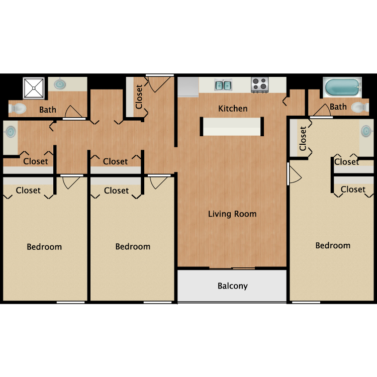 Floor plan image of 3 Bed 2 Bath with Balcony