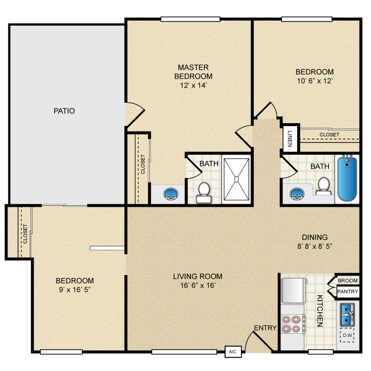 Floor plan image of 3 Bedroom 2 Bath
