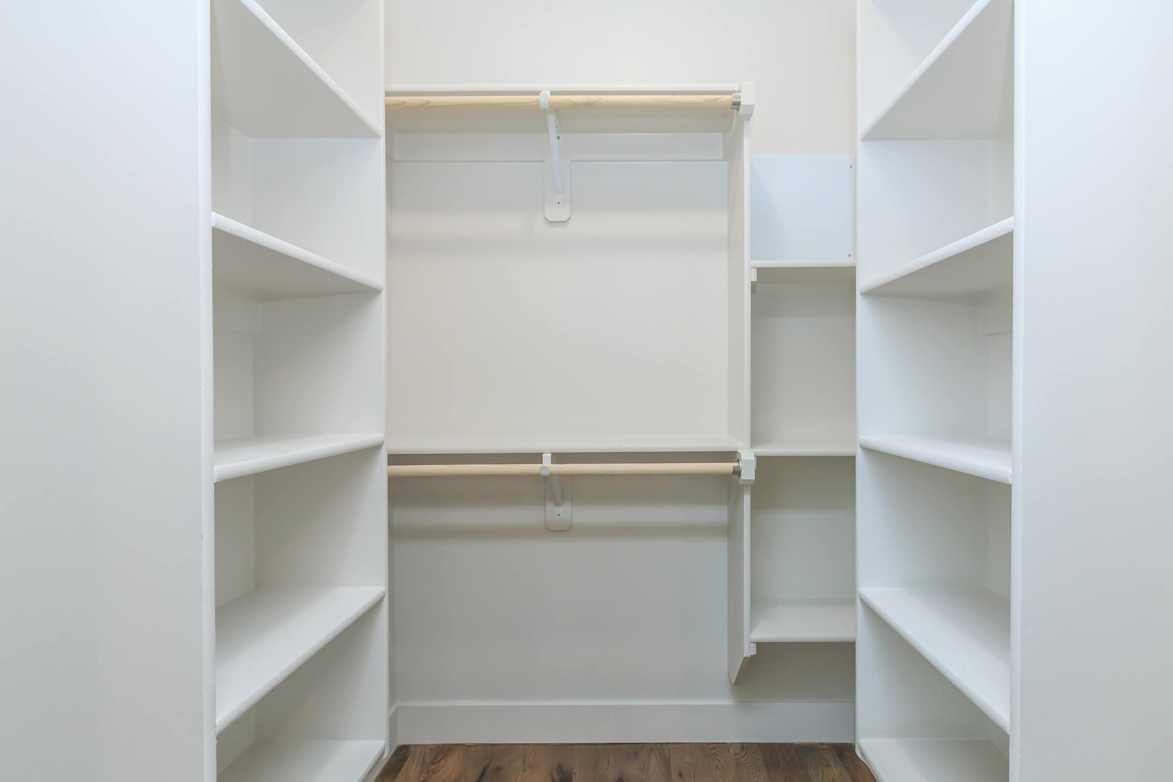 an empty shelf in front