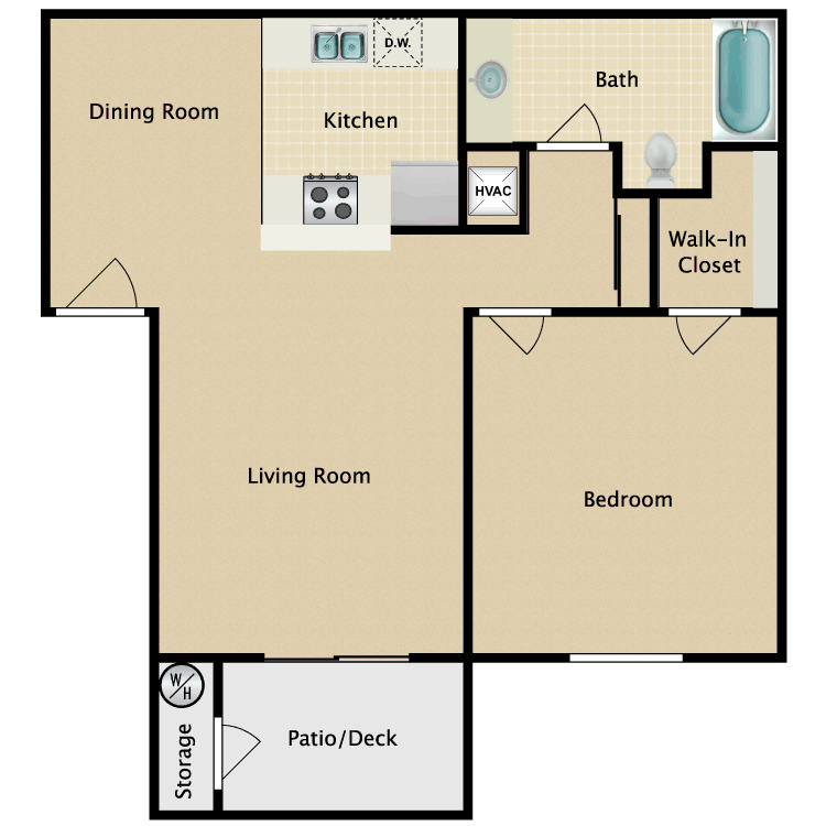 Floor plan image of 1 Bed 1Bath A