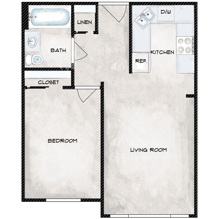 Floor plan image of One Bedroom One Bath