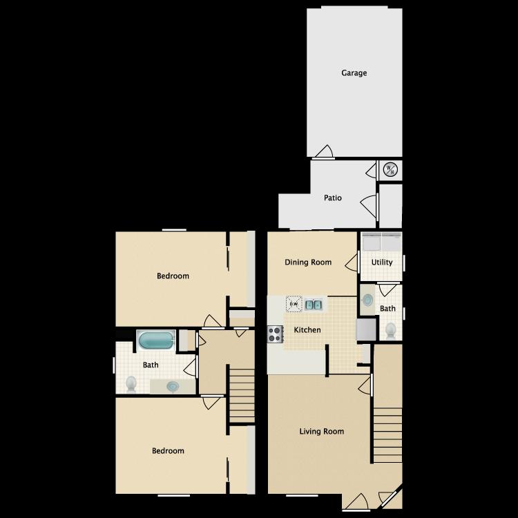 Floor plan image of Two Bedroom 1.5 Bath