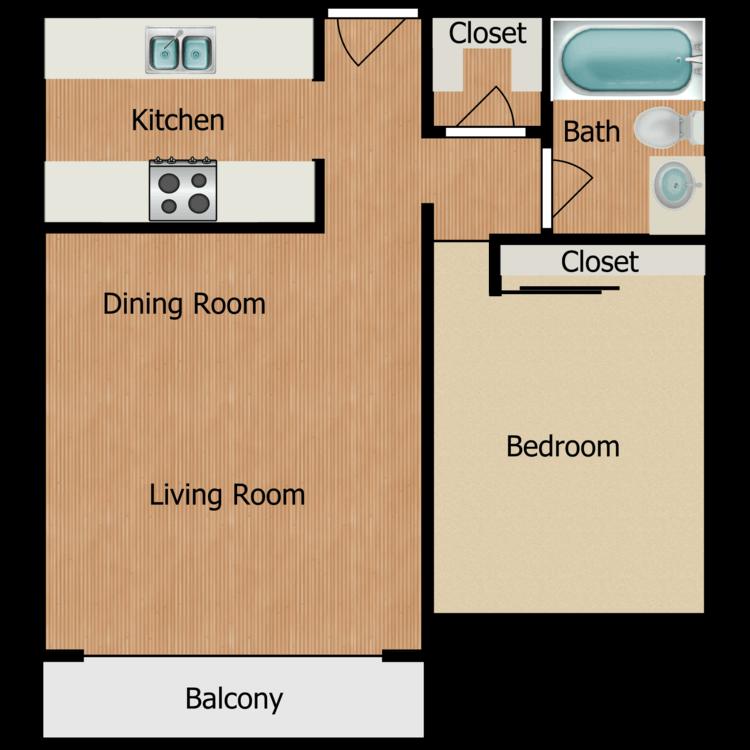 Floor plan image of Plan B 1 Bed 1 Bath